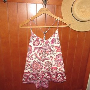Magenta paisley print cross-back boho top
